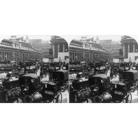 London Royal Exchange Nthe Bank Of England And The Royal Exchange In London England During A Celebration For Queen Victoria Stereograph C1897 Rolled Canvas Art     18 X 24