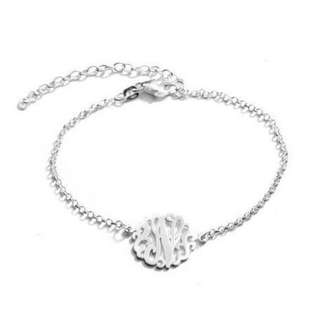 Sterling silver single initial monogram bracelet letter j for Letter j bracelet