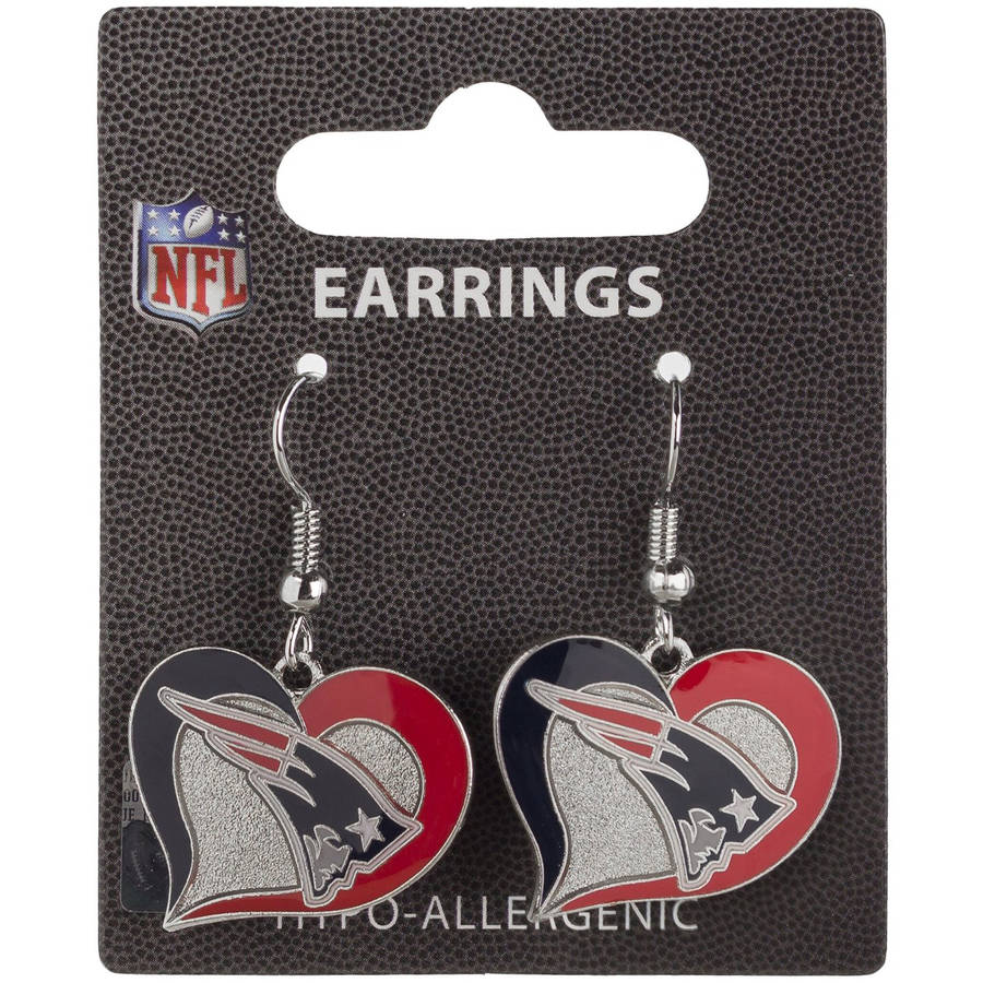 NFL New England Patriots Swirl Heart Shape Dangle Logo Earring Set
