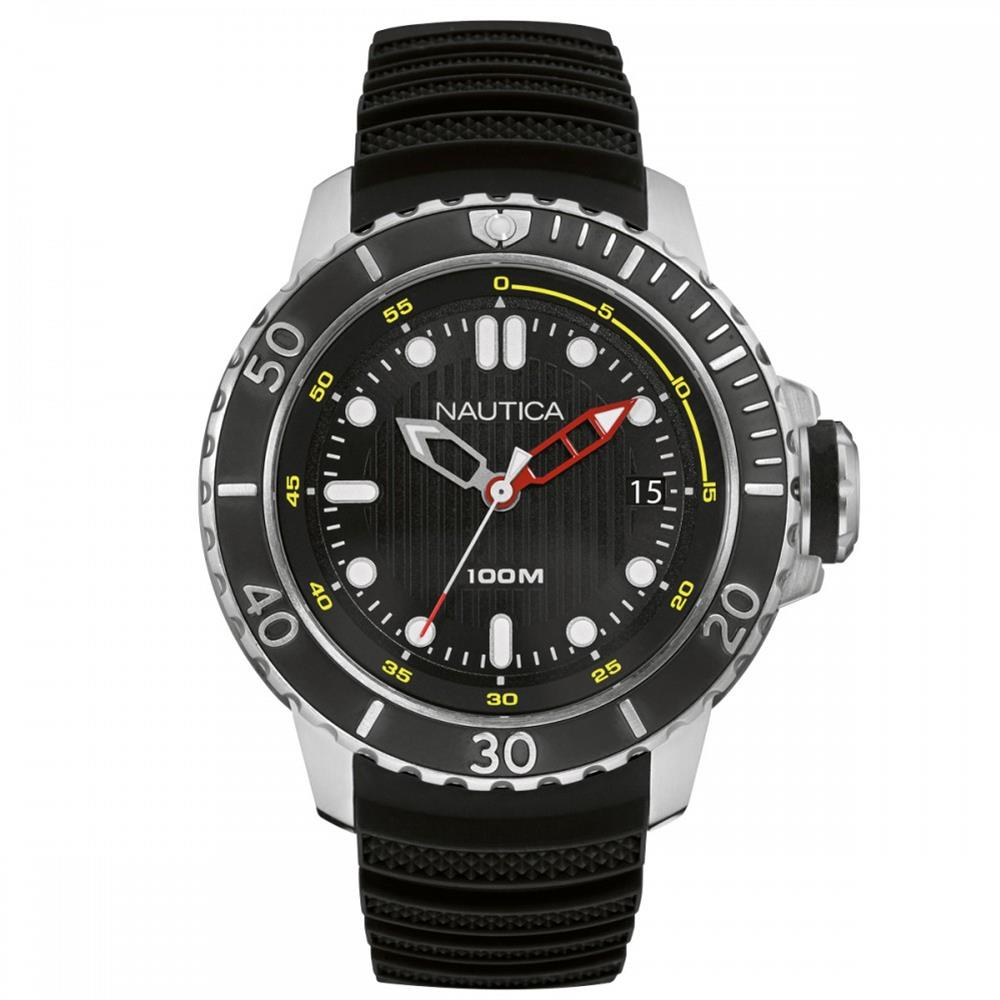 Nautica Men's 50mm Black Rubber Band Steel Case Quartz Analog Watch NAD18519G by Nautica