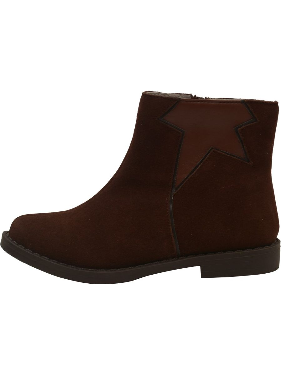 L'Amour Lined Girls Brown Star Cut Out Leather Lined L'Amour Ankle Boots 11-4 Kids d92798