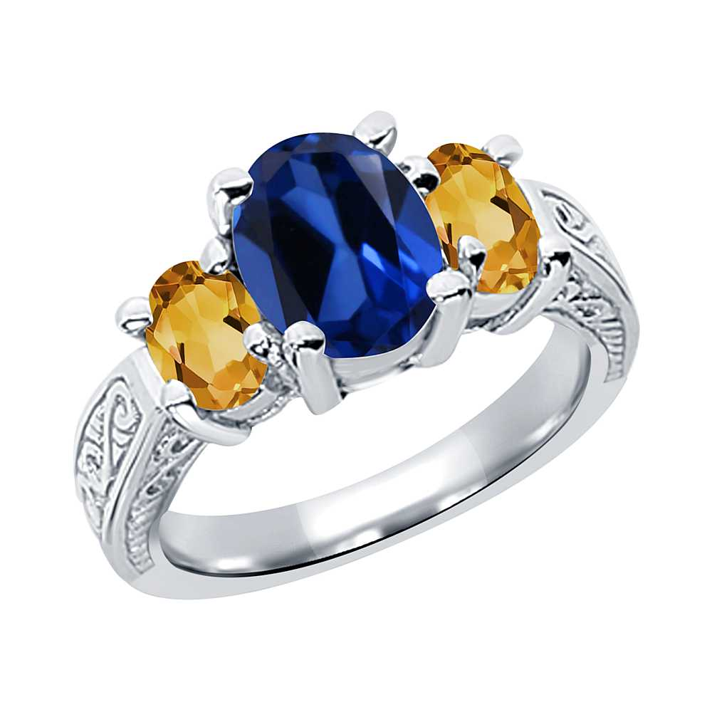 2.95 Ct Oval Blue Simulated Sapphire and Yellow Citrine 925 Silver 3-Stone Ring