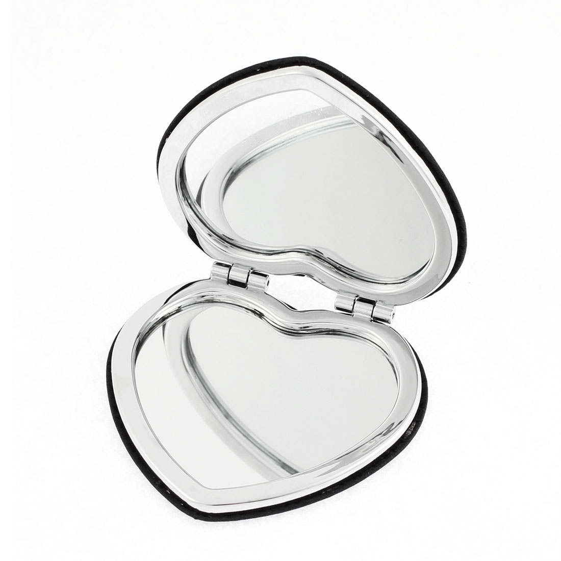 Heart Shaped Flower Detail Folding Cosmetic Compact Mirror Makeup Tool Black