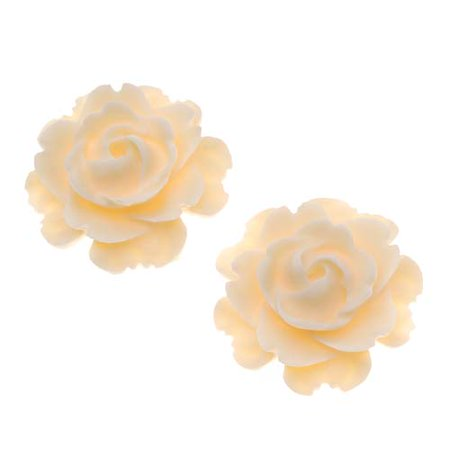 Lucite Flower Cabochons Blooming Rose Matte