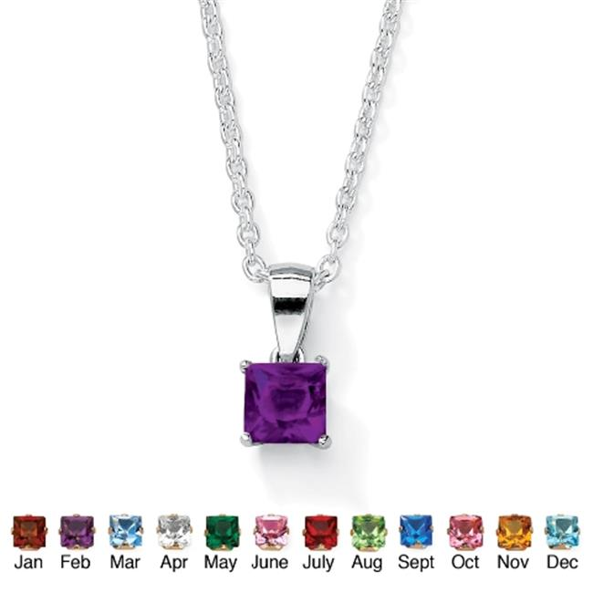PalmBeach Jewelry 5063002 Sterling Silver Princess-Cut Birthstone Pendant and Chain February - Simulated Amethyst