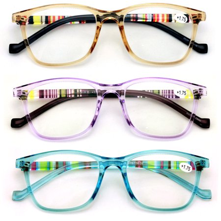 3 Pairs Women's Reading Glasses - Translucent Plaid Fashion - M Reader