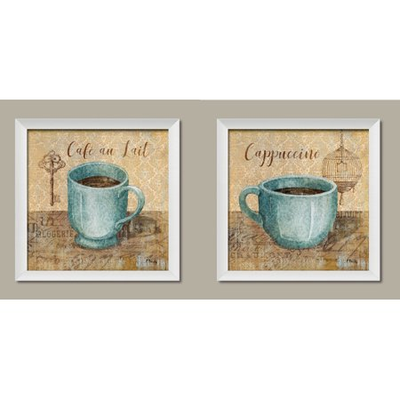 Por Clic Coffee Key And Bird Cage Cafe Au Lait Cuccino Kitchen Decor Two 12x12in White Framed Prints