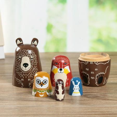 5pcs Wooden Animal Bear Russian Doll Matryoshka Toy Decor Nesting Dolls Kid (Animal Doll Toy)