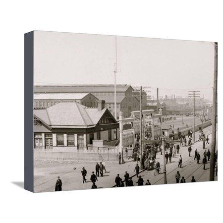 Noon Hour at the Shipyard, Newport News, Va. Stretched Canvas Print Wall Art ()