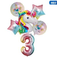 KABOER 6pcs Unicorn Star Numbers 0-9 Helium Foil Balloons Kids Birthday Party Decor