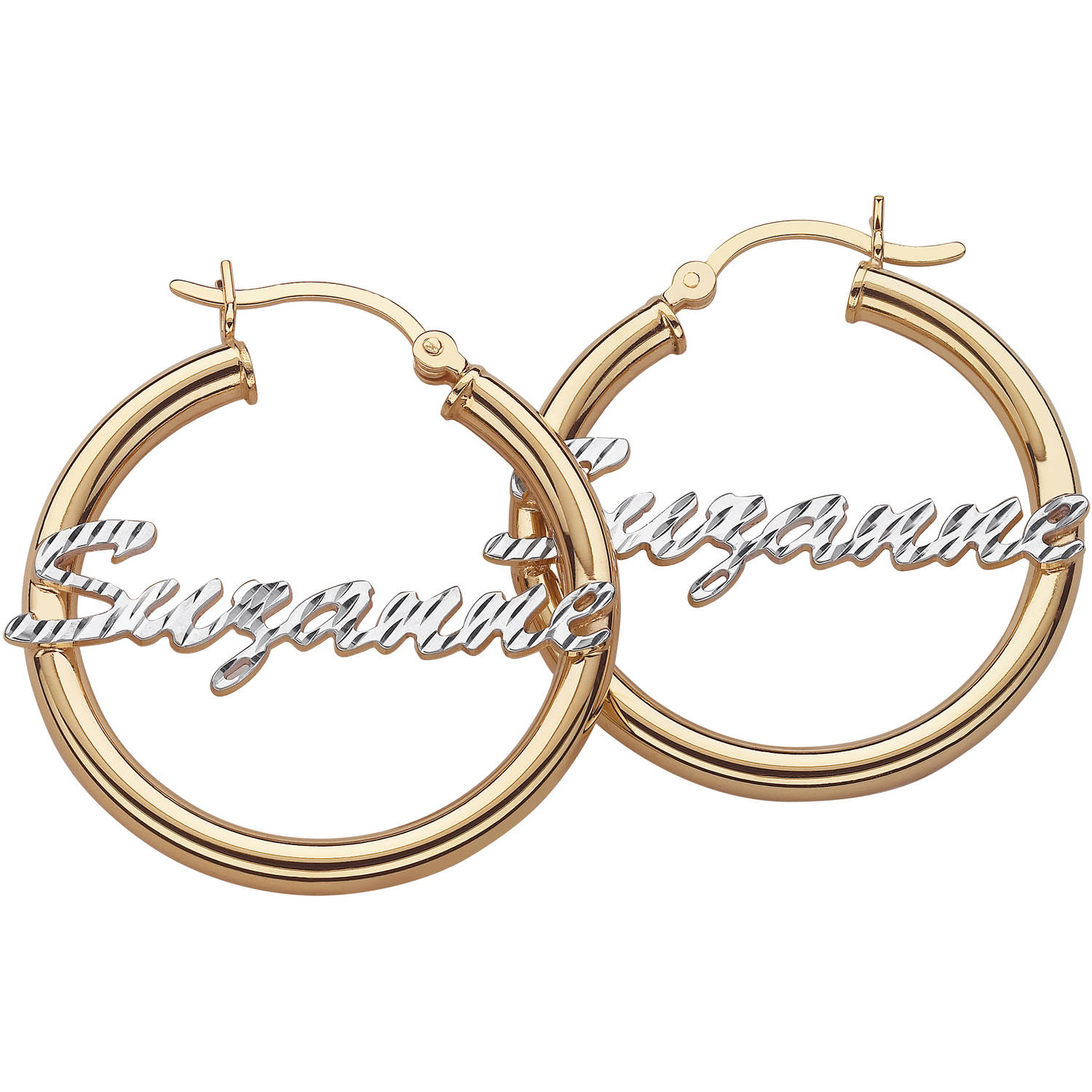 personalized sterling silver cut name 2 tone hoop