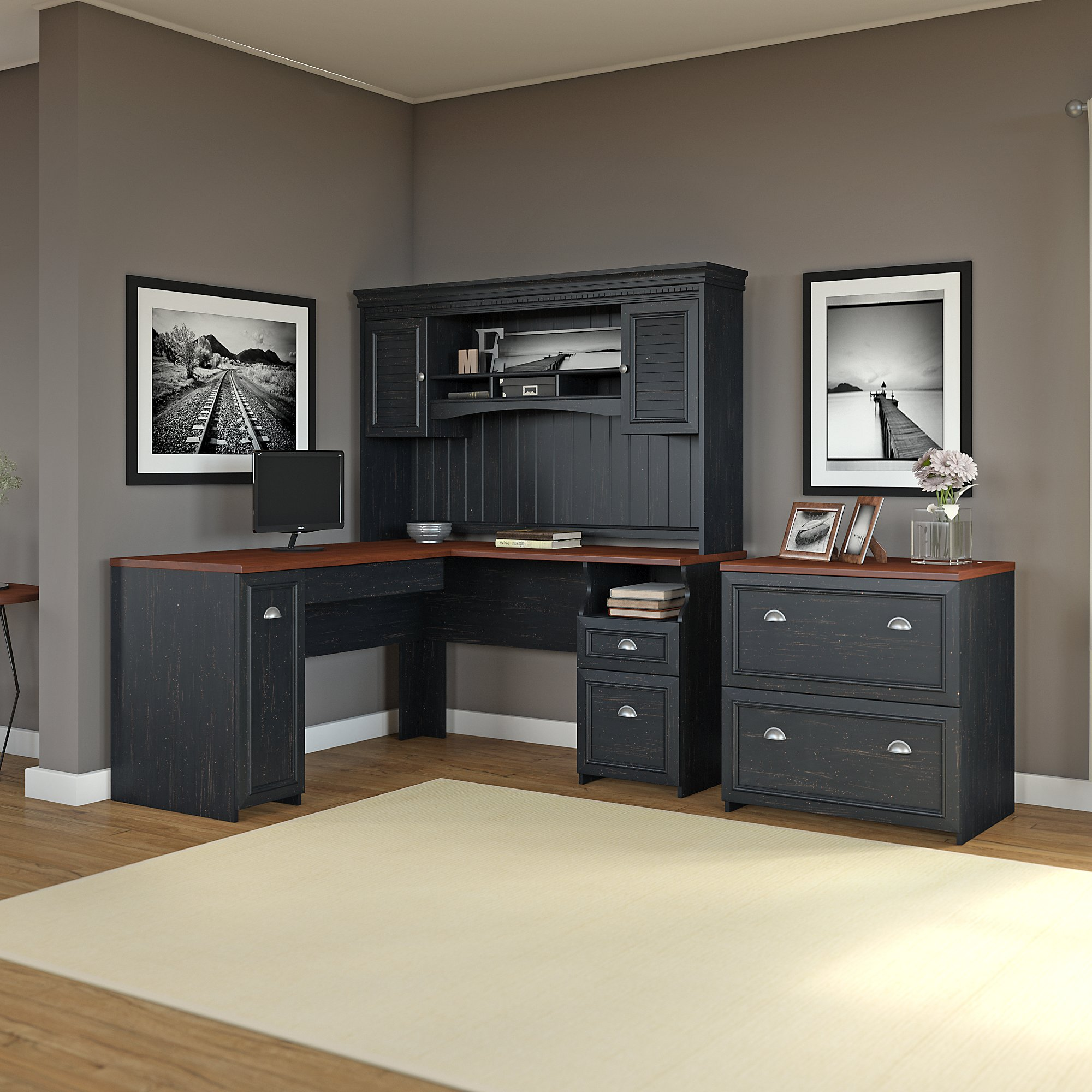 Fairview L Shaped Desk with Hutch and Lateral File Cabinet in Black