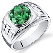 4.50 Ct Men's Created Emerald Engagement Ring in Rhodium-Plated Sterling Silver