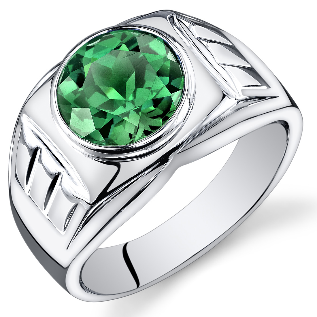 Peora 4.50 Ct Men's Created Emerald Engagement Ring in Rhodium-Plated Sterling Silver