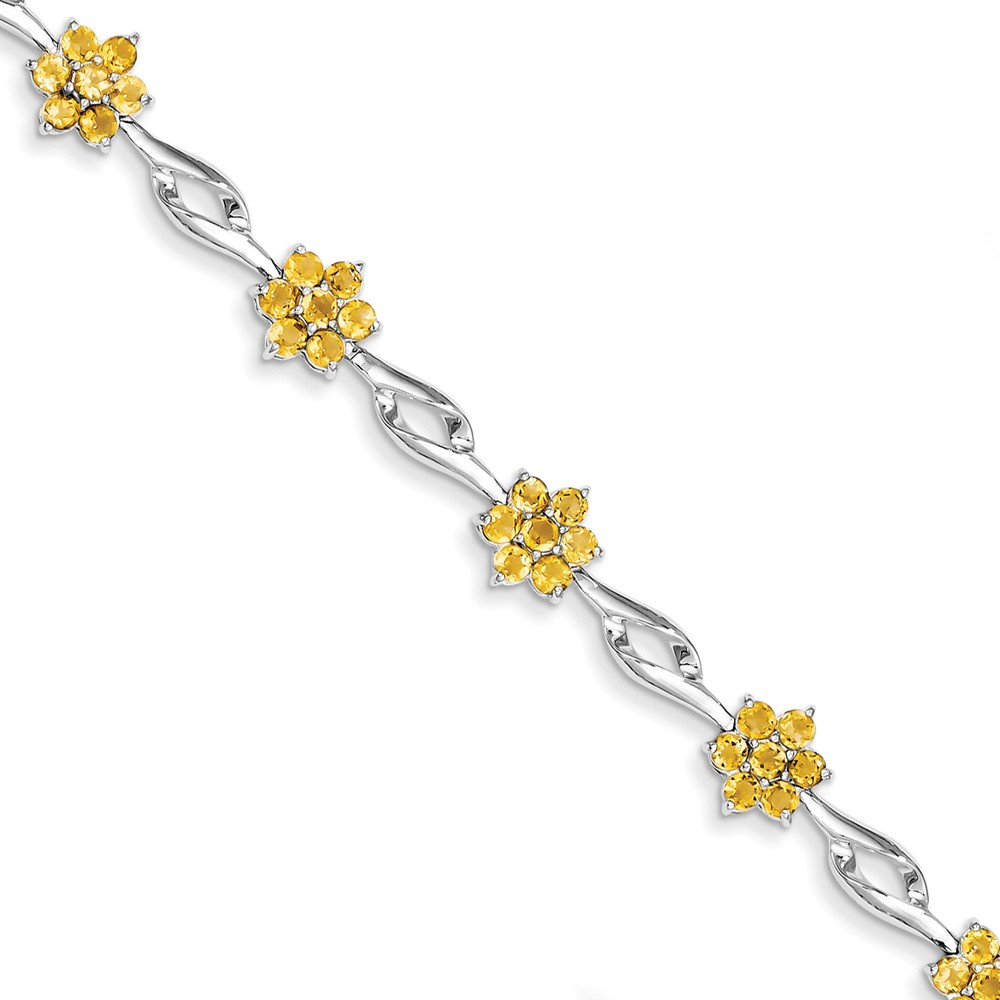 "925 Sterling Silver Simulated Citrine Bracelet -7"" (7in x 8mm) by"