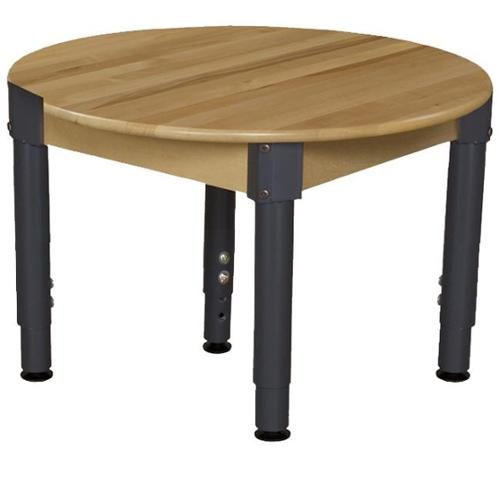 Wood Designs 830A1217C6 30 inch Mobile Round Hardwood Table With Adjustable Legs 14-19 inch