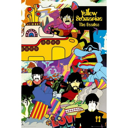 The Beatles - Yellow Submarine Poster 24 x 36in, By