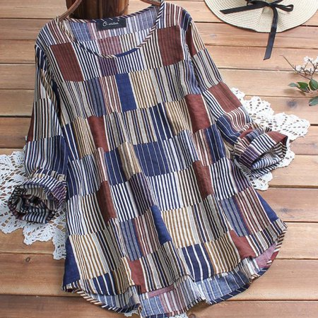 Women Retro O Neck Check Long Sleeve Casual Loose Baggy Tunic Tops Blouse Plus Size L-5XL