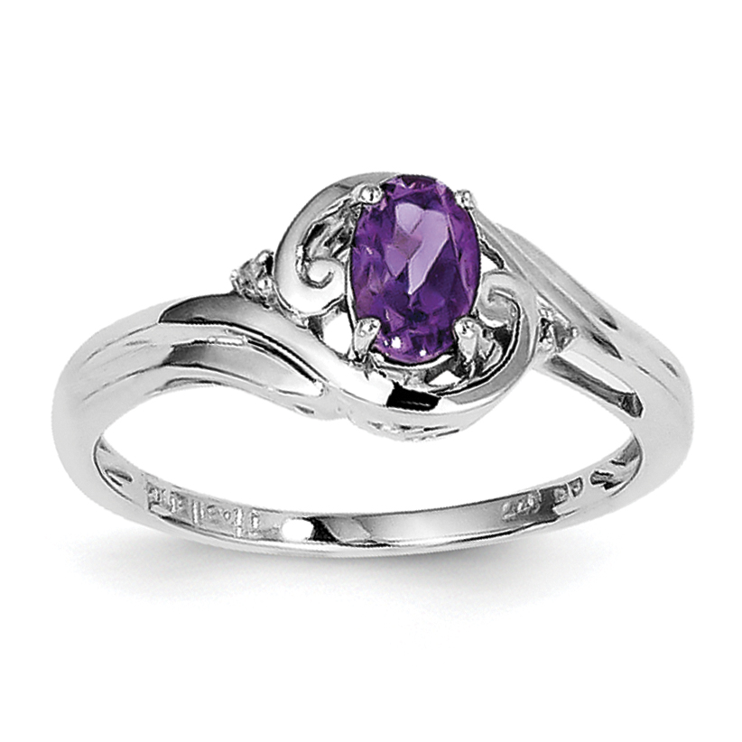 Roy Rose Jewelry Sterling Silver Diamond and Amethyst Ring ~ Size 8 by