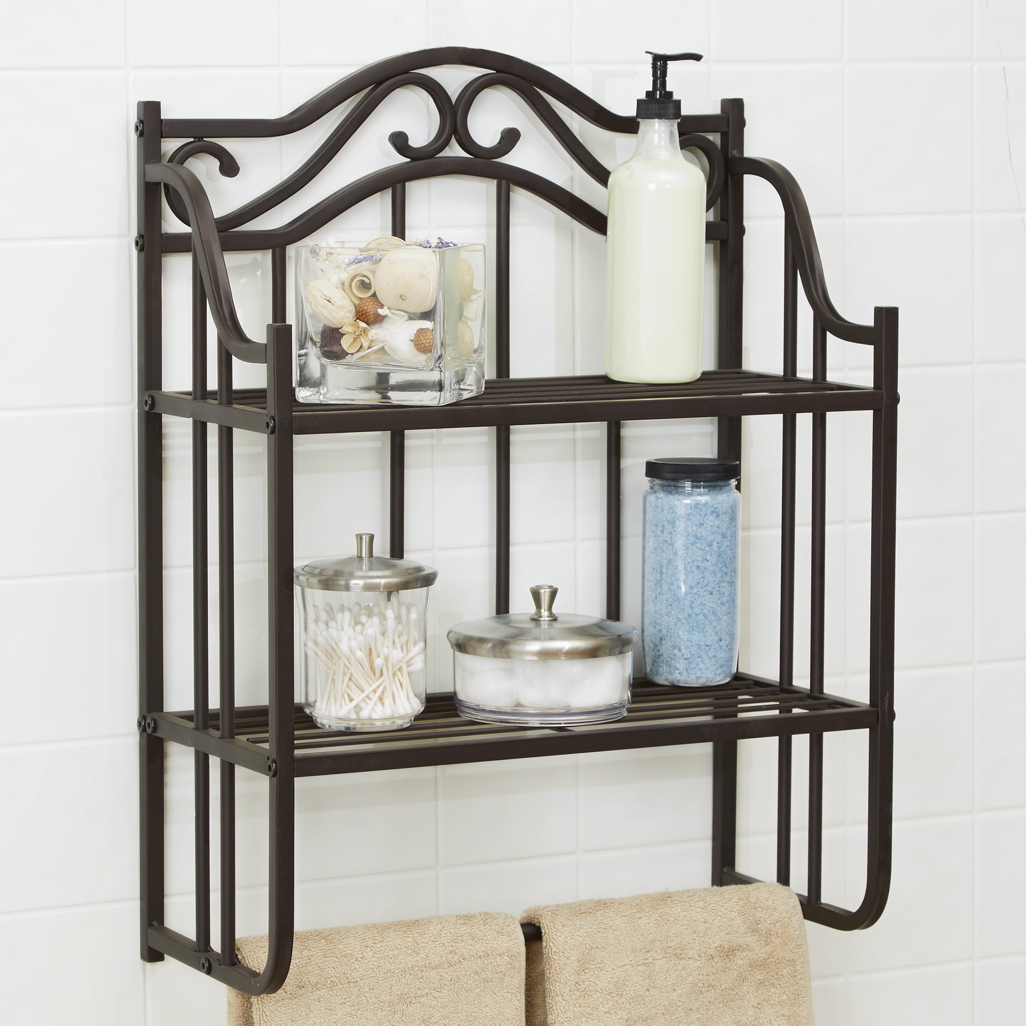 Charming Chapter Bathroom Storage Wall Shelf, Oil Rubbed Bronze Finish   Walmart.com
