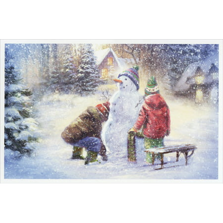 American Greetings Two Kids Building Snowman Box of 14 Christmas Cards ()