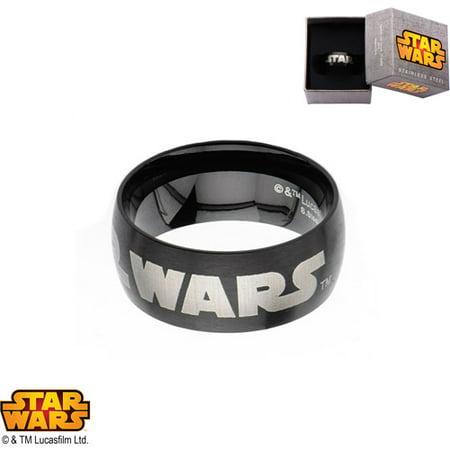 Disney Ring (Disney Stainless Steel Logo Black IP Ring )