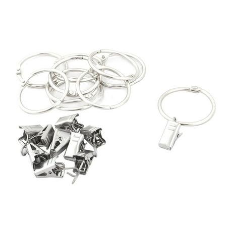 - Hotel Metal Window Curtain Drapery Rod Hanging Hook Clip Ring Silver Tone 10 Pcs