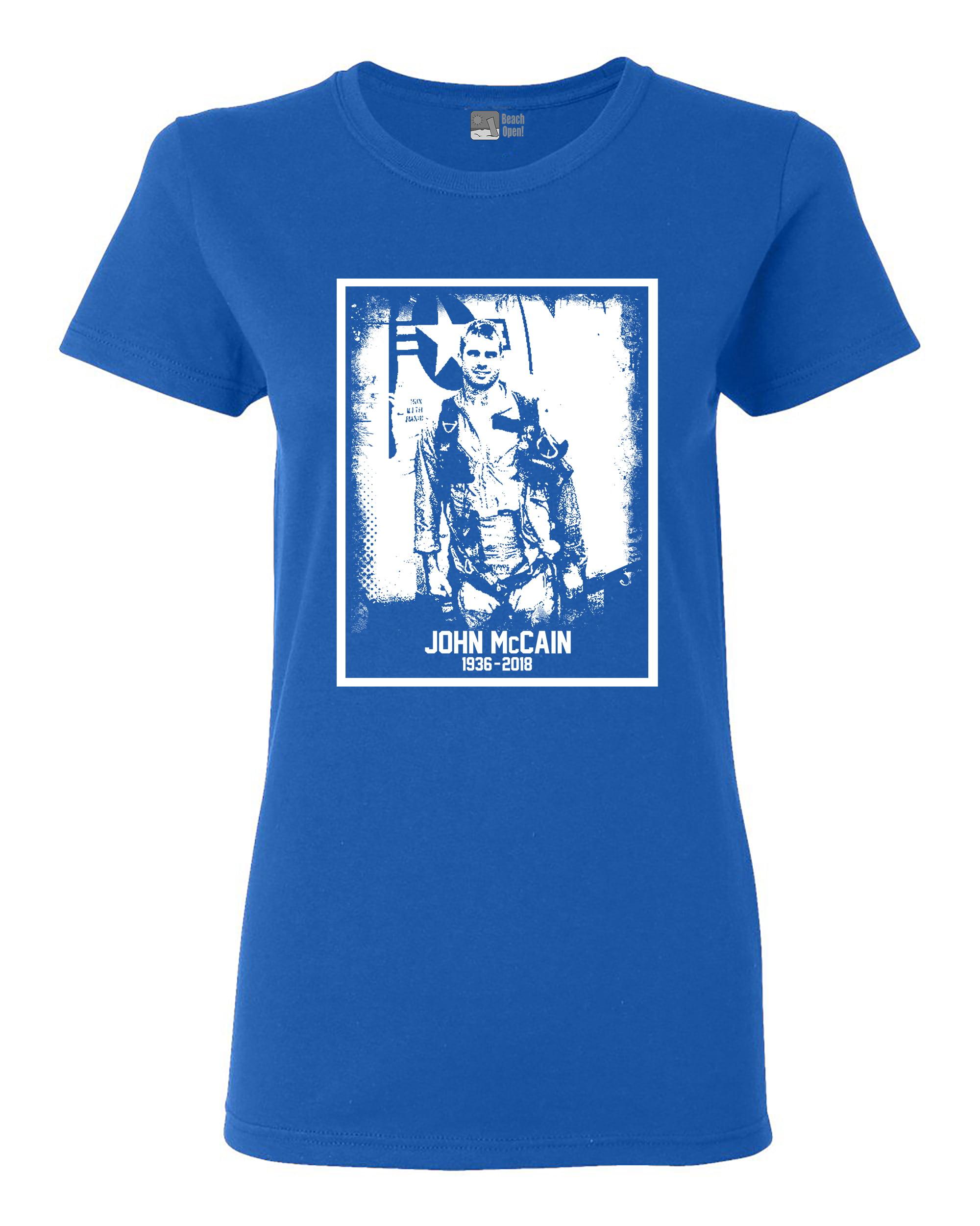 Ladies John McCain Senator USA Flag RIP 1936-2018 Hero White DT T-Shirt Tee
