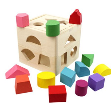 Homeholiday13 Holes Children Educational Box Wooden Building Blocks Toddler Geometric Pairing Toys Learning Tool - image 5 de 7