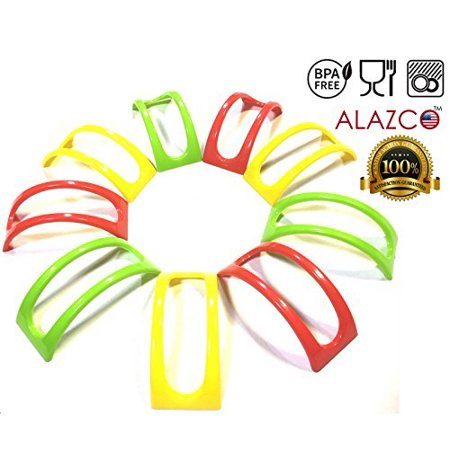 9pc Colorful Stackable ALAZCO Taco Holder Stand Server - For Soft & Hard Shell Taco - Backyard Party Picnic Fiesta (3 Red, 3 Green, 3 Yellow) BPA Free Soft Heat Server Stand