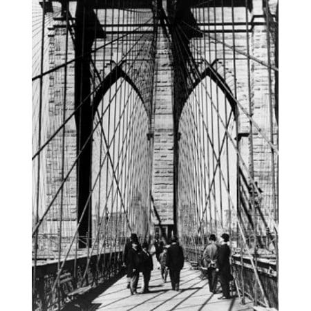 Group Of People Walking On A Suspension Bridge Brooklyn Bridge New York City New York Usa C 1883 Poster Print