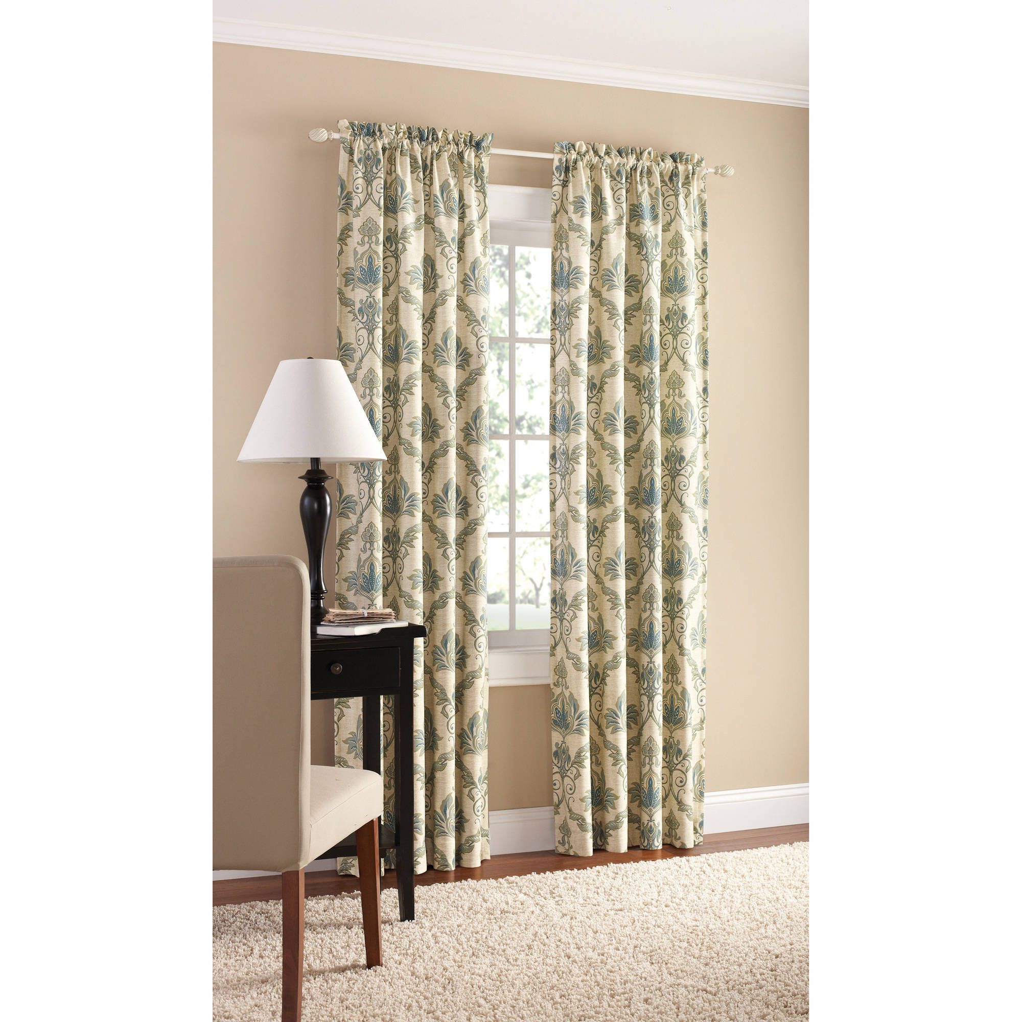 Mainstays Canvas European Damask Heavyweight Curtain Panel, Set of 2