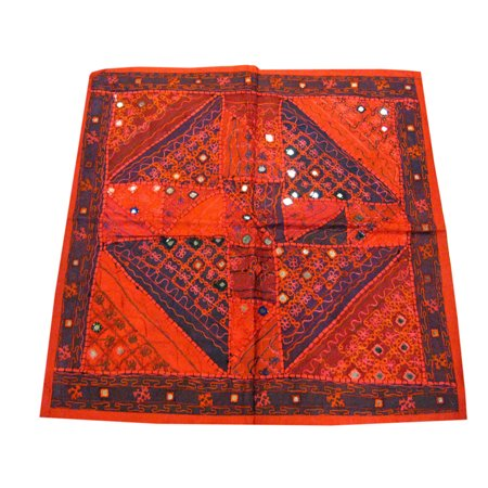 Mogul Designer Indian Wall Hanging Red Sari With Mirror Work Wall Art Tapestry -
