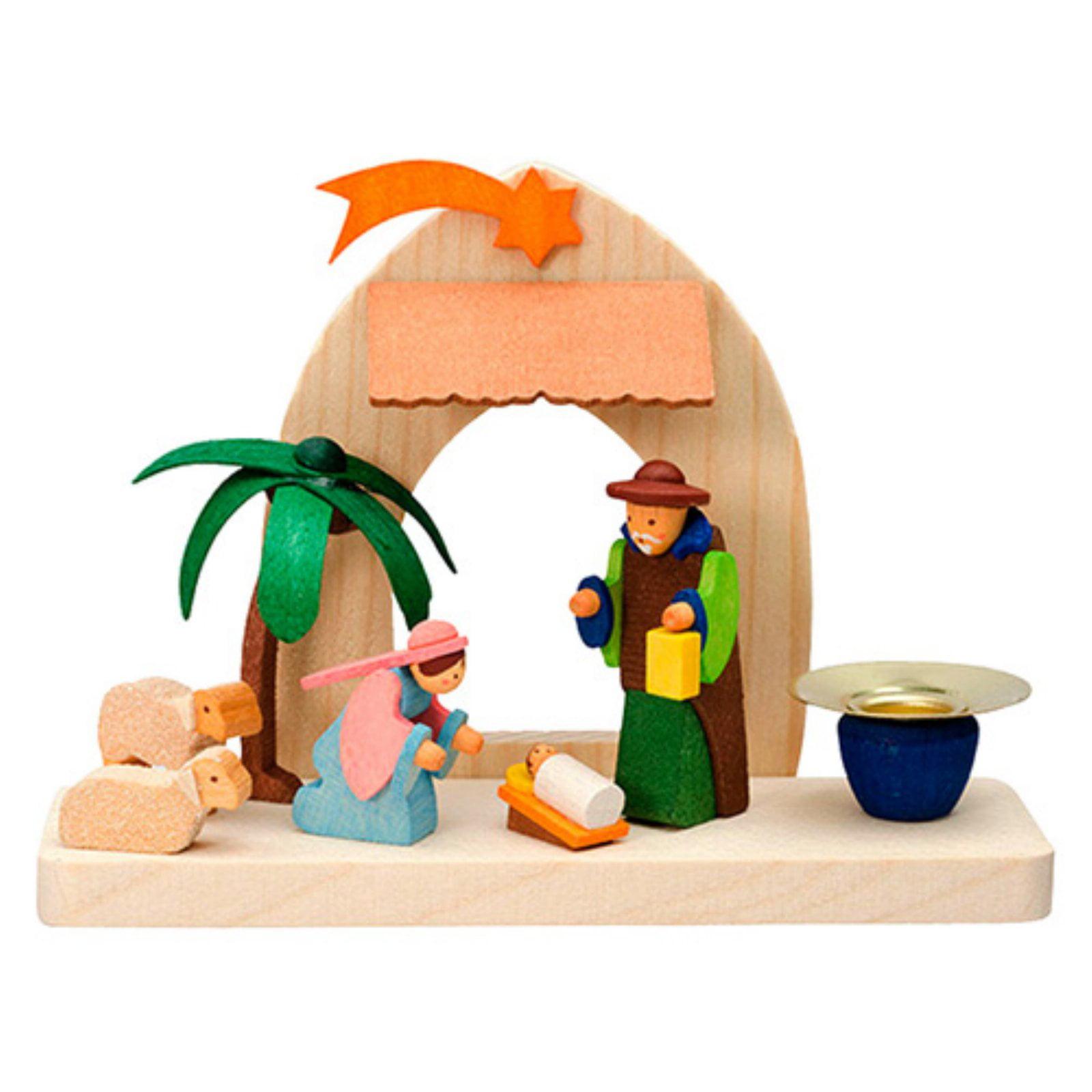 Graupner 3.25 in. Nativity Scene with Santa Candle Holder