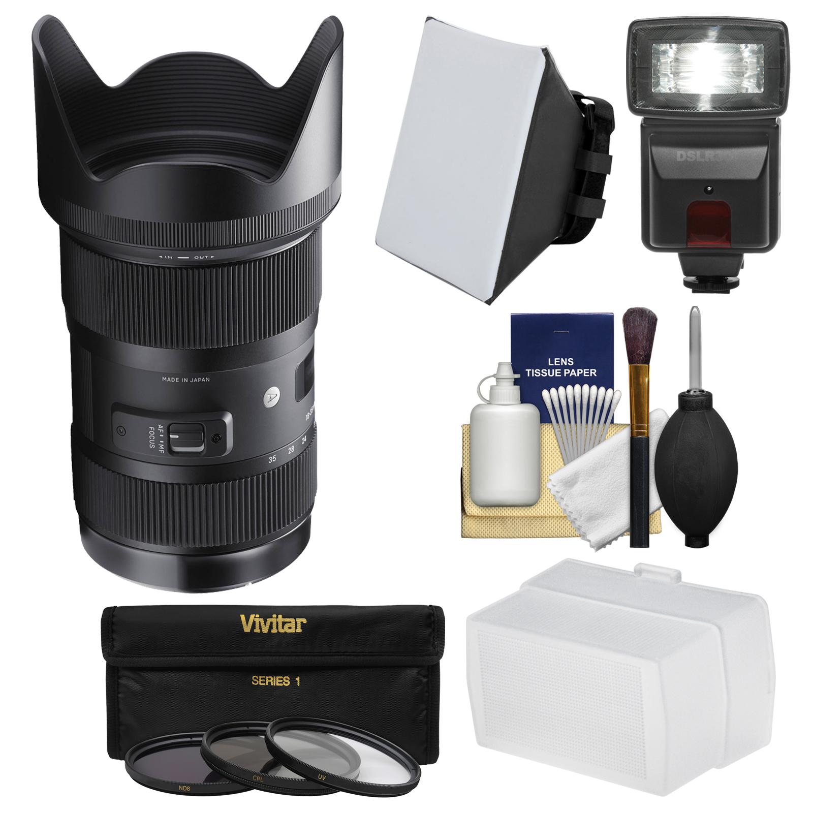 Sigma 18-35mm f/1.8 Art DC HSM Zoom Lens for Canon EOS DSLR Cameras with Flash + Soft Box & Diffuser + 3 UV/CPL/ND8 Filters + Kit