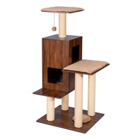 Good Life Modern Deluxe Cat Tree House with Scratching Post  Solid Wood Design 49 inch Condo Play Center