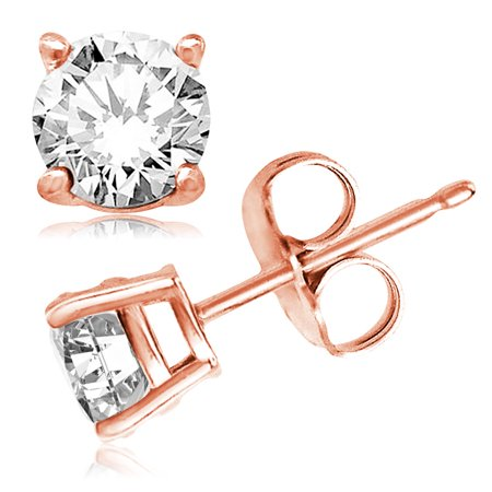 Classic Gemstones - Rose Gold Sterling Silver Classic Round Cut Cubic Zirconia Gem Stud Earrings