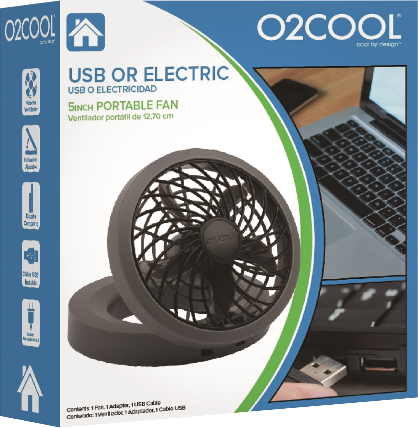 "O2COOL 5"" Portable USB or Electric Fan, Black/Gray"
