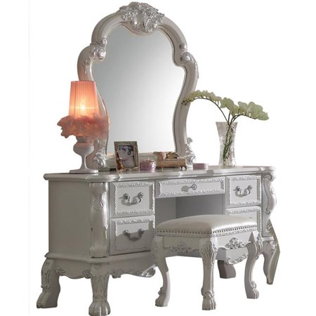 Benzara BM204315 Wooden Framed Vanity Mirror with Polyresin Ornamental Details, White - image 1 of 1
