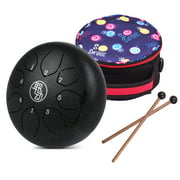 6 Inch Steel Tongue Drum Handpan Drum 8-Notes C-Key Percussion Instrument with Mallets Drum Bag Wiping Cloth for Musical Education Concert Mind Healing Yoga Meditation