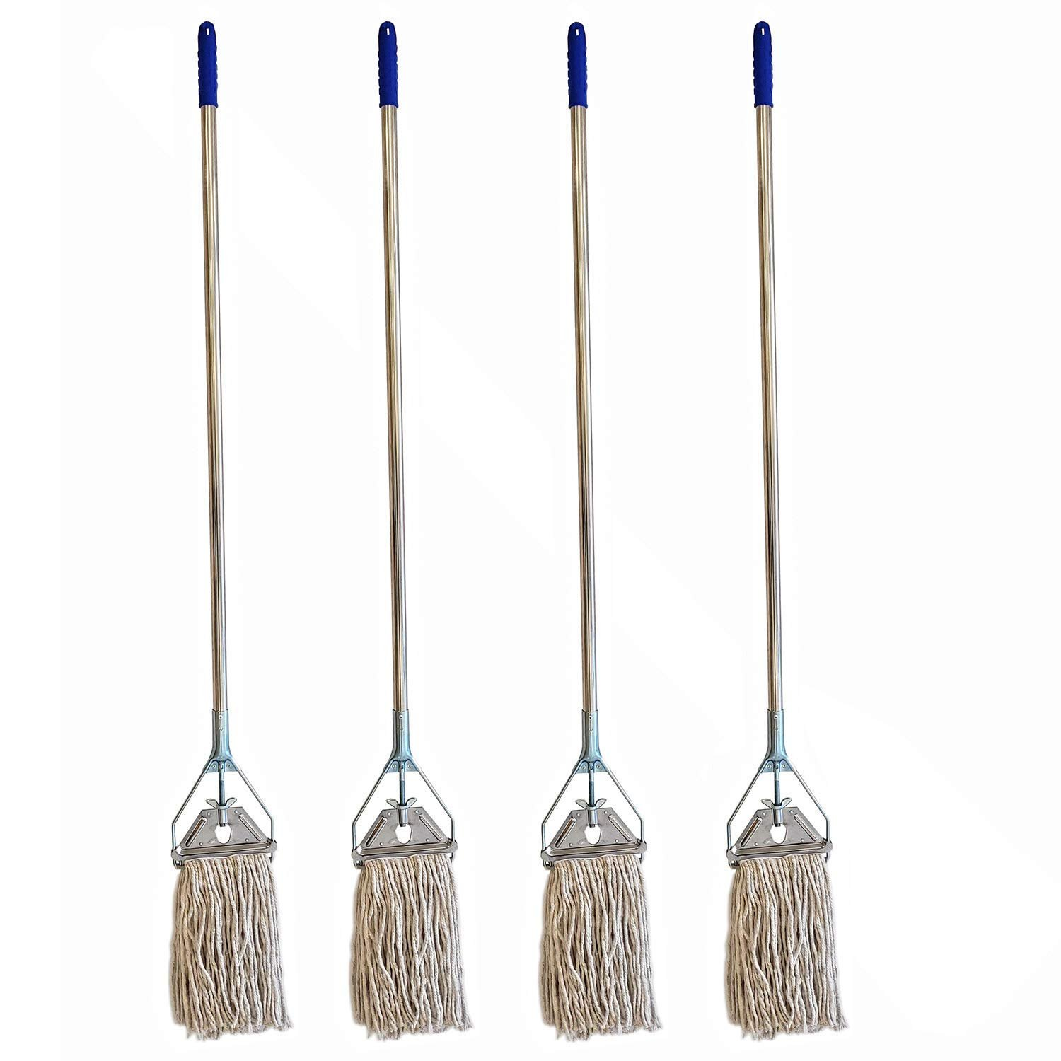 Mop With Head 6 Pack Heavy Duty Premium Industrial Strength Stainless Steel Mop With Handle With Cotton Mop Head for Floor Cleaning-Kitchen Home Office Janitorial Industrial Warehouse