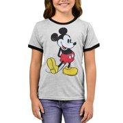 Disney Mickey Mouse Retro Ringer T-Shirt Gray (Big Girls)