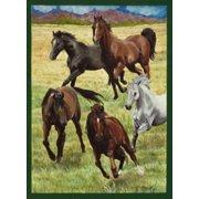 "Horses Running Farm Garden Flag Field Decorative Saddle Yard Banner 12"" x 18"""