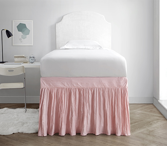 Crinkle Bed Skirt Twin Xl Rose Quartz Walmart Com