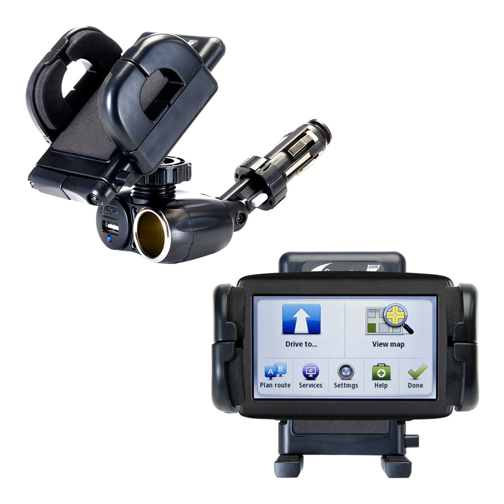 Dual USB / 12V Charger Car Cigarette Lighter Mount and Holder for the TomTom VIA 1500