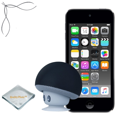 Apple iPod touch Space Gray 16GB (6th Generation) - Mushroom Bluetooth Wireless Speaker/Ipod Stand - Quality Photo cloth