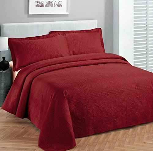Fancy collection 3pc Bed Spread Embossed Bedsocover Solid Over size King / California king Red New