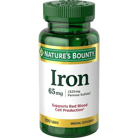 - Nature's Bounty Iron 65 mg Tablets 100 Tablets