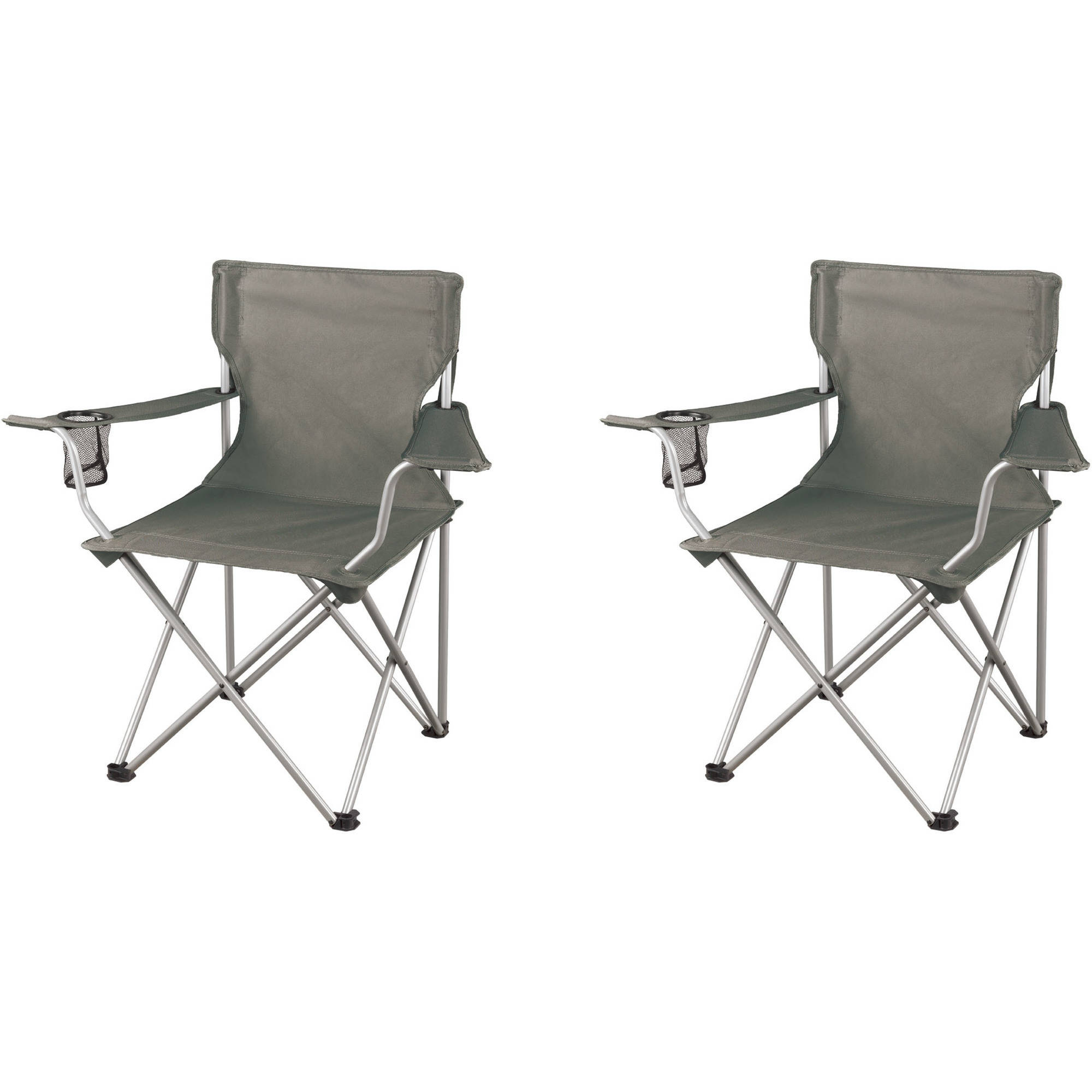 Ozark Trail Regular Folding Camping Armchairs, Grey, 2-Pack