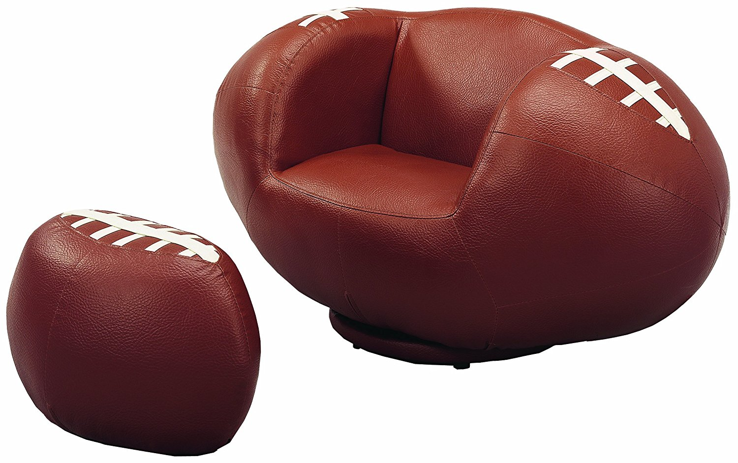 Crown Mark Baseball Glove Kids Faux Leather Chair And Ottoman